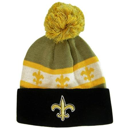 New Orleans Fleur De Lis Adult Size Winter Knit Beanie Hats (Black/Brown)