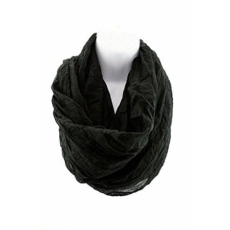 Sassy Scarves Women's Crinkled Style Loop Infinity Design Fashion Scarf - Crinkle Check Scarf