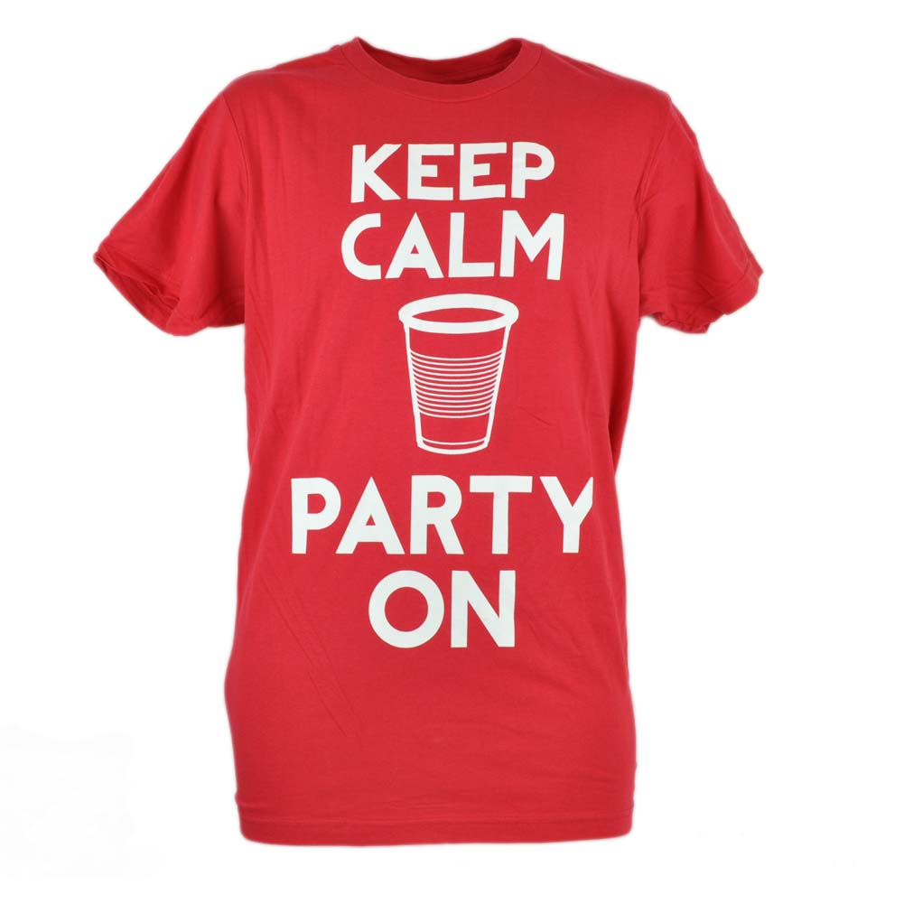 Keep Calm and Party On Red Cup Drinks Beer Young Mens Tshirt Tee Funny Small S