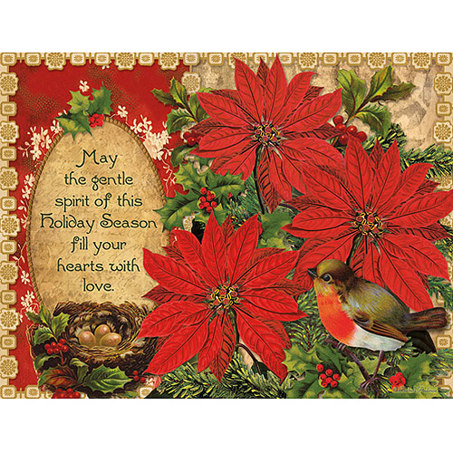 Lang Poinsettia and Holly Boxed Christmas Cards