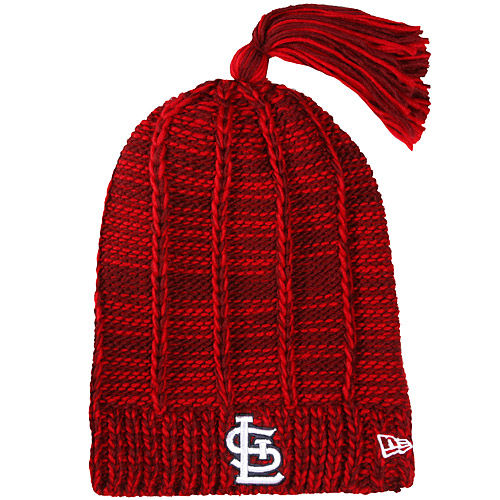 Women's New Era Red St. Louis Cardinals Winter Slouch Tassel Knit Beanie by