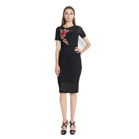 Ofashionusa Womens Short Sleeve Sheer Mesh Floral Embroidery Dress
