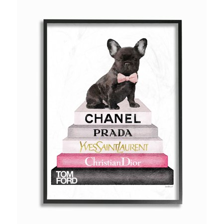 The Stupell Home Decor Collection Book Stack Fashion French Bulldog Framed Giclee Texturized Art, 11 x 1.5 x 14