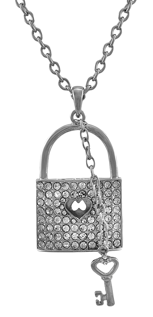 Silver Tone Rhinestone Lock Necklace with Key Charm 28 In. by H.J. Constellation LTD