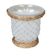 """Vickerman 589182 - 7.3"""" Frosted Glass Vase Chicken Wire (FQ194009) Home Decor Vases"""