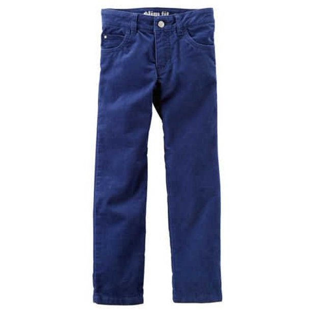 Little Girls' Blue Stretch Corduroy Pants (Size 6)