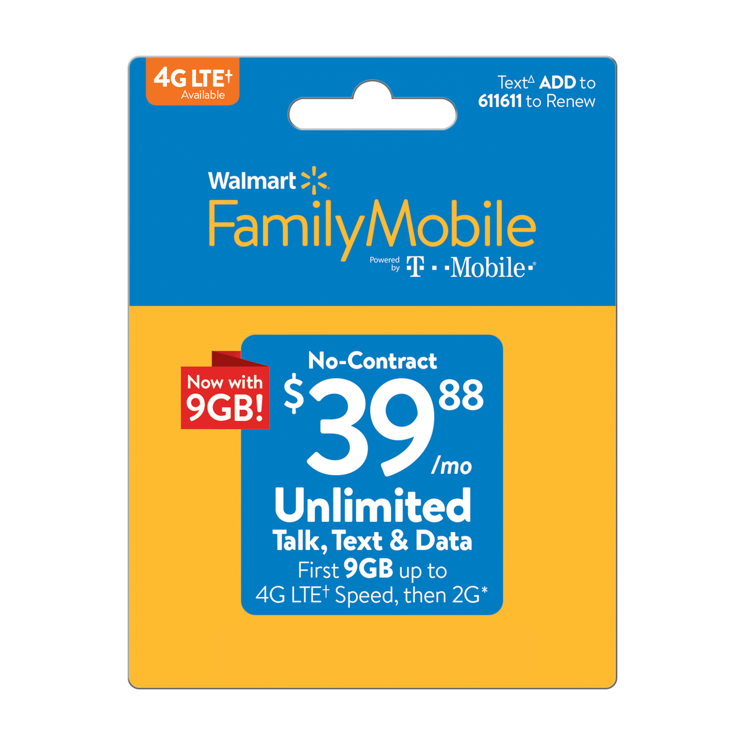 Walmart Family Mobile $39.88 Unlimited Monthly Plan (with up to 9GB of data at high speeds, then 2G*) (Email Delivery)