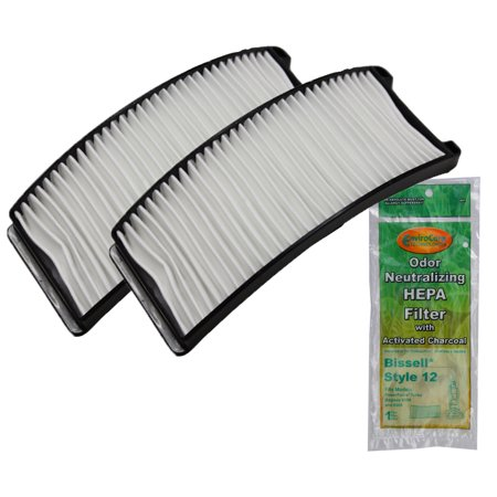 2 Bissell Type 12 HEPA Post Motor Filter for Part #203-8037, 203-1402, 3205, 6585, 6596. Fits Bagless Upright Vacuum Models PowerForce, Turbo, Bagless, Helix Turbo Bagless, Power Groom Helix Rewind
