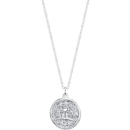 Crystal Silver-Tone Fairy Tale Moments Await Crown Necklace, (Artist Fairy Necklace)