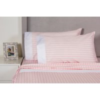 Melange Home Printed Design Cotton Collection 400 Thread Count Pink Stripe Sheet Set King