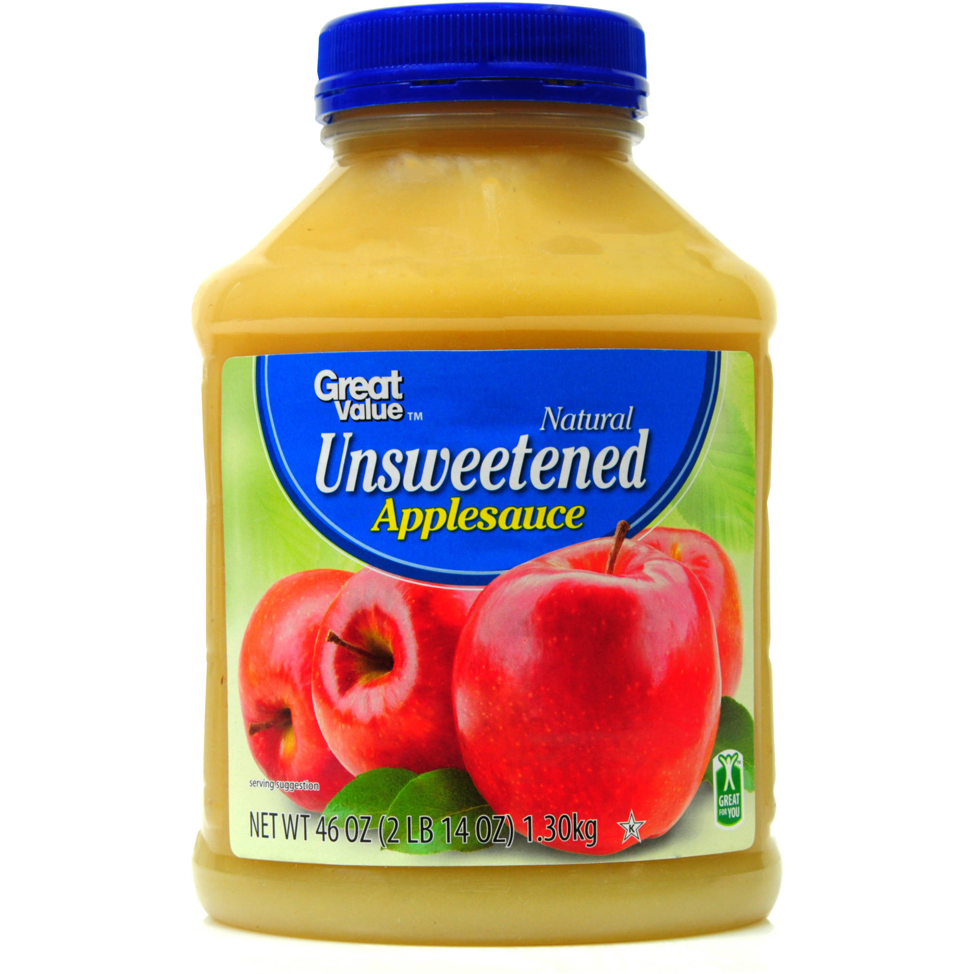 Great Value Natural Unsweetened Applesauce, 46 oz