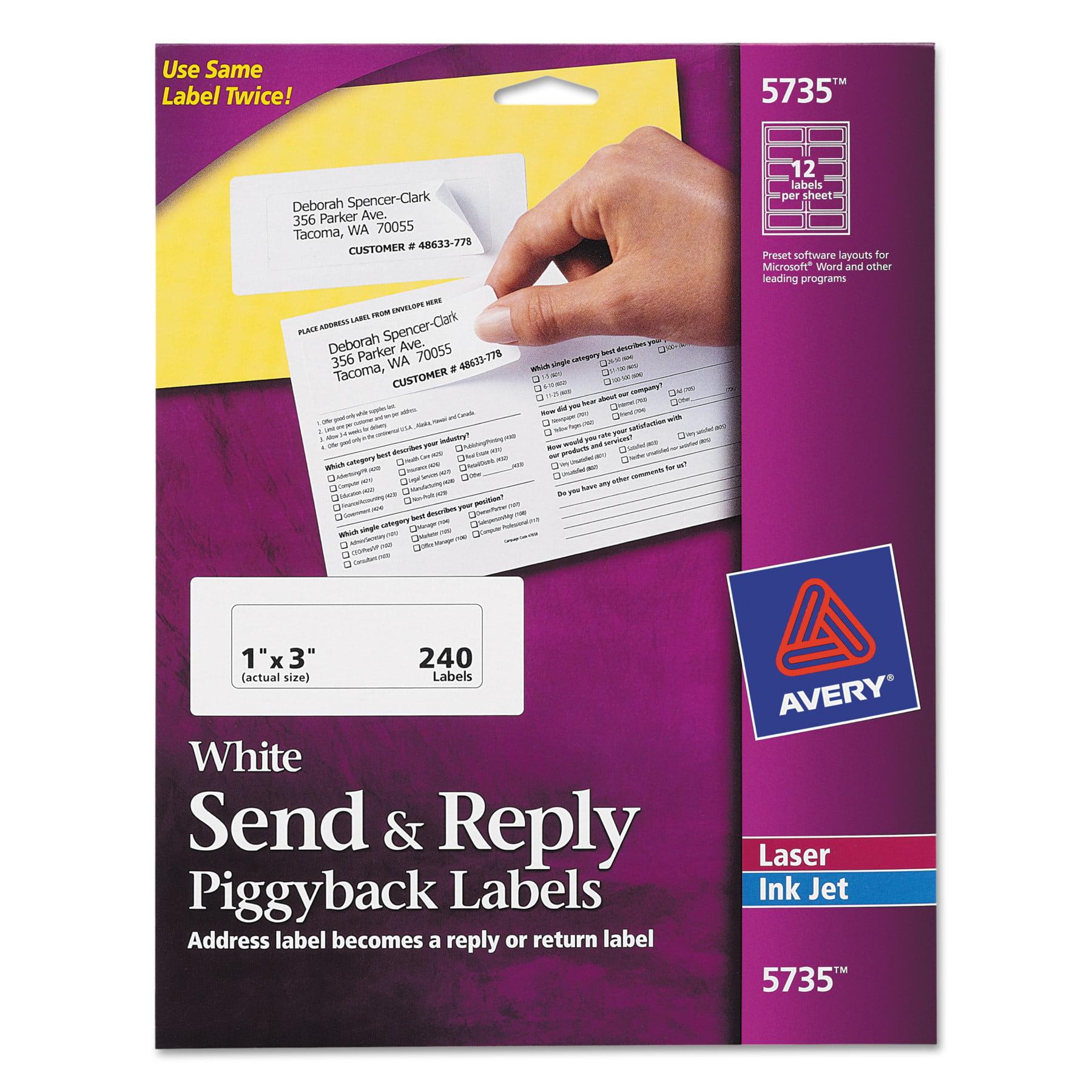 Avery Send & Reply Piggyback Inkjet/Laser Printer Labels, 1 5/8 x 4, White, 240/Pack