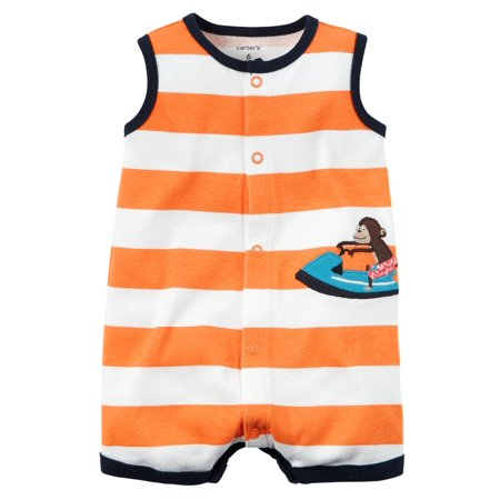Baby Monkey Outfit (Carters Baby Clothing Outfit Boys Snap-Front Striped Romper Monkey)