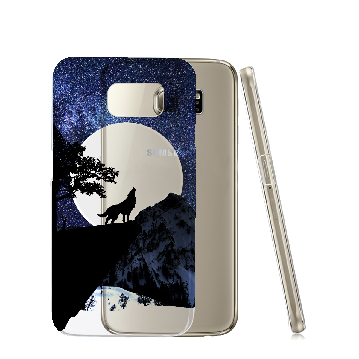 KuzmarK™ Samsung Galaxy S6 Clear Cover Case - Wolf Full Moon Stars