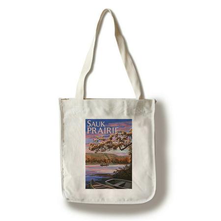 Sauk Prairie, Wisconsin - Lake Scene at Dusk - Lantern Press Artwork (100% Cotton Tote Bag - Reusable) (Baby Mk Bag)