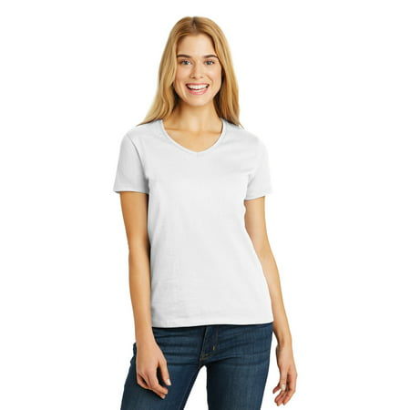 Hanes Ladies Tagless 100% Cotton V-Neck - 100 Cotton Ladies Tee