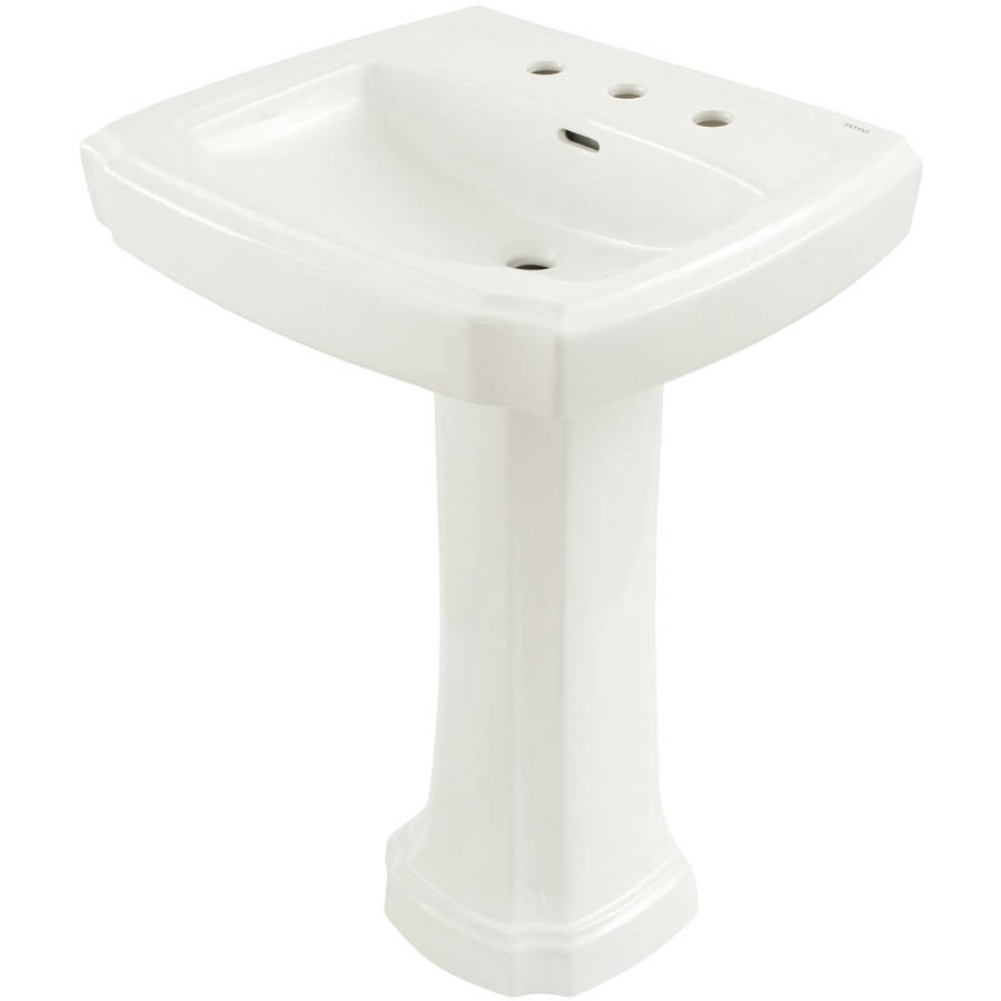 """Toto Guinevere 24-3/8"""" Pedestal Bathroom Sink with 3 Faucet Holes Drilled and Overflow, Pedestal Included, Available in Various Colors"""