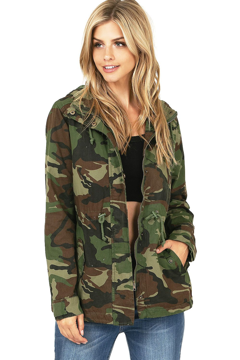 Ambiance Apparel Women's Cargo Style Camouflage Hooded Jacket (S)