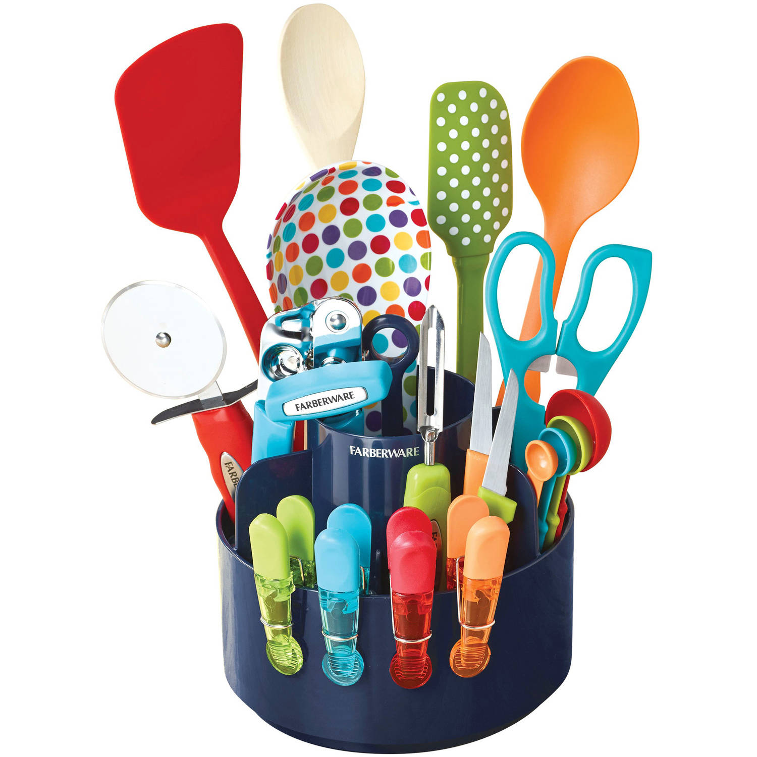 Farberware Colourworks 20 Piece Multi Color Kitchen Gadget Caddy Set