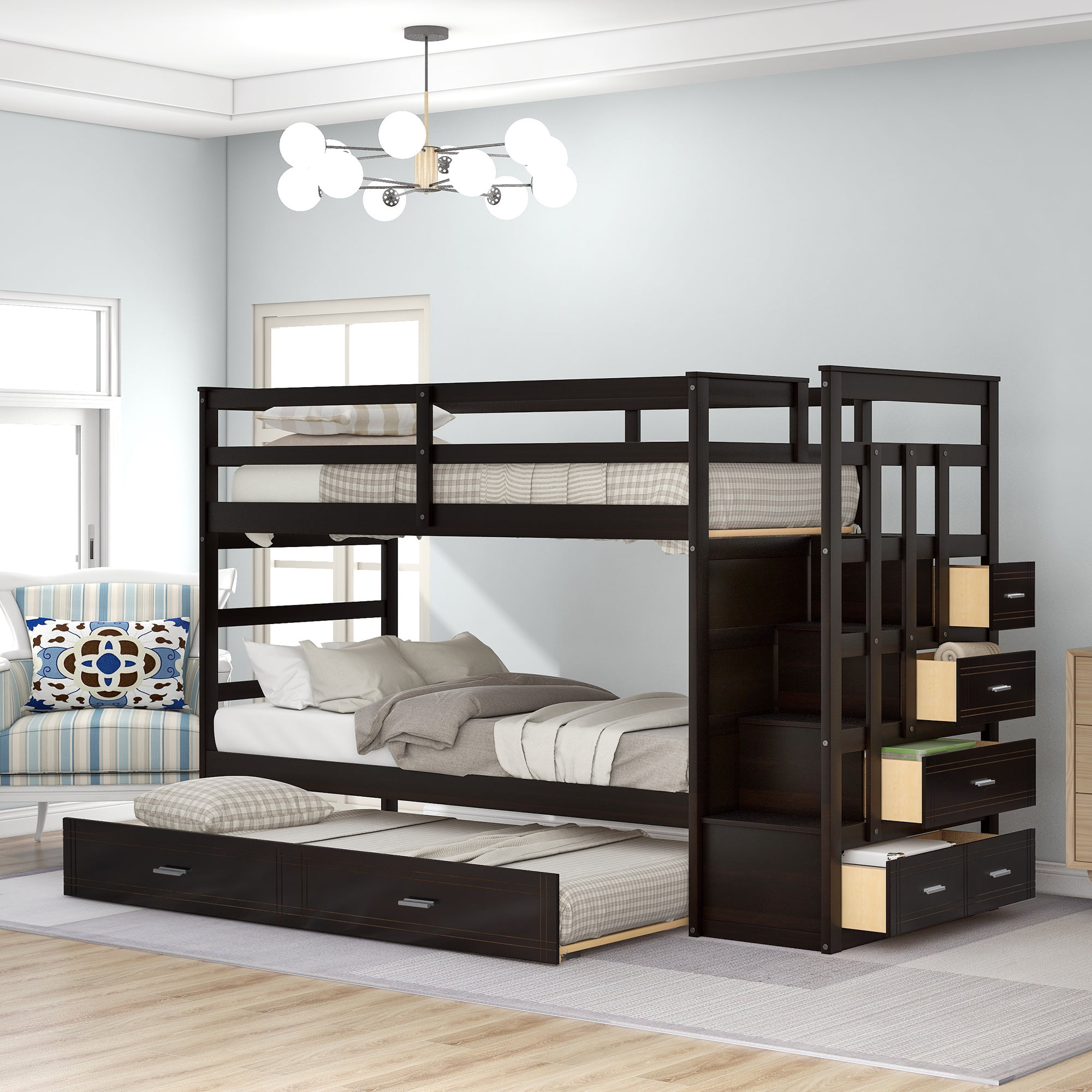 Wood Bunk Bed For Kids Twin Over Twin Bunk Bed Frame With Trundle And Staircase Multiple Colors Available Espresso Finish Walmart Com Walmart Com