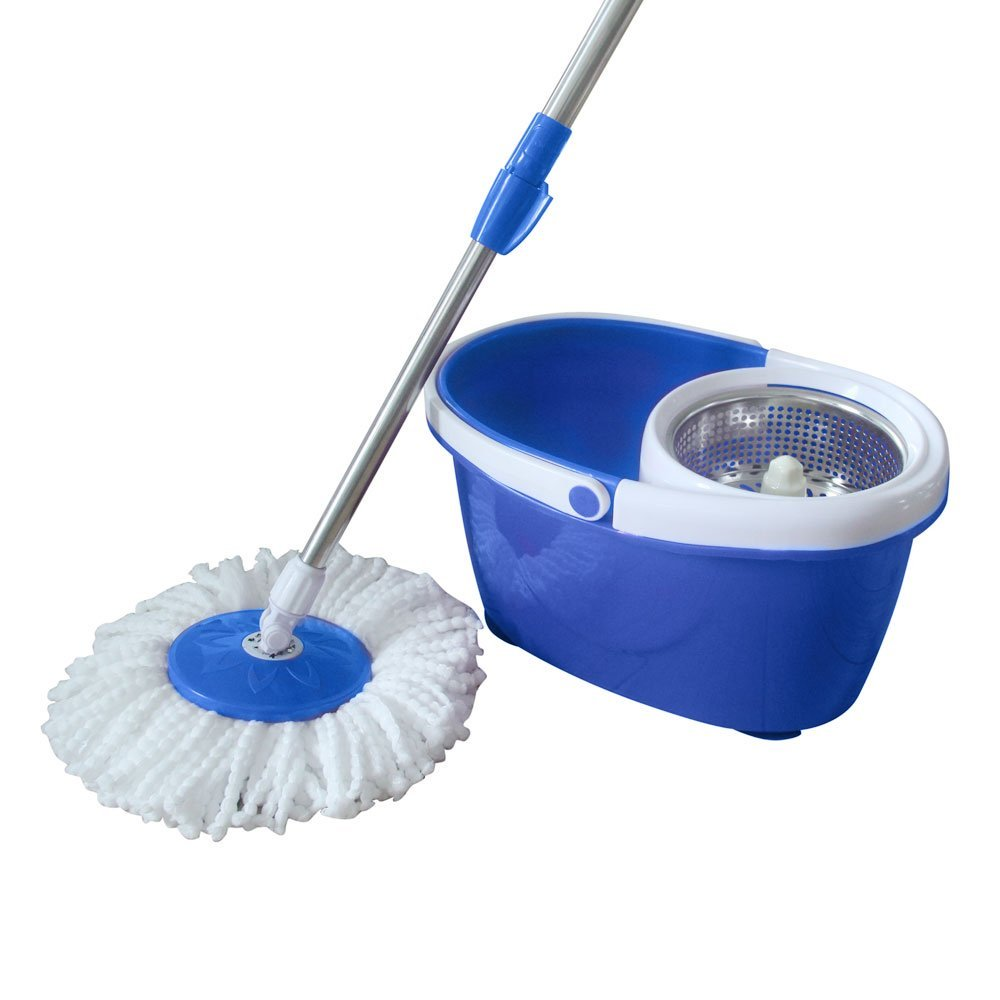 UBesGoo Microfiber Spinning Mop Easy Floor Mop W/Bucket 2 Heads Floor Cleaning System Blue