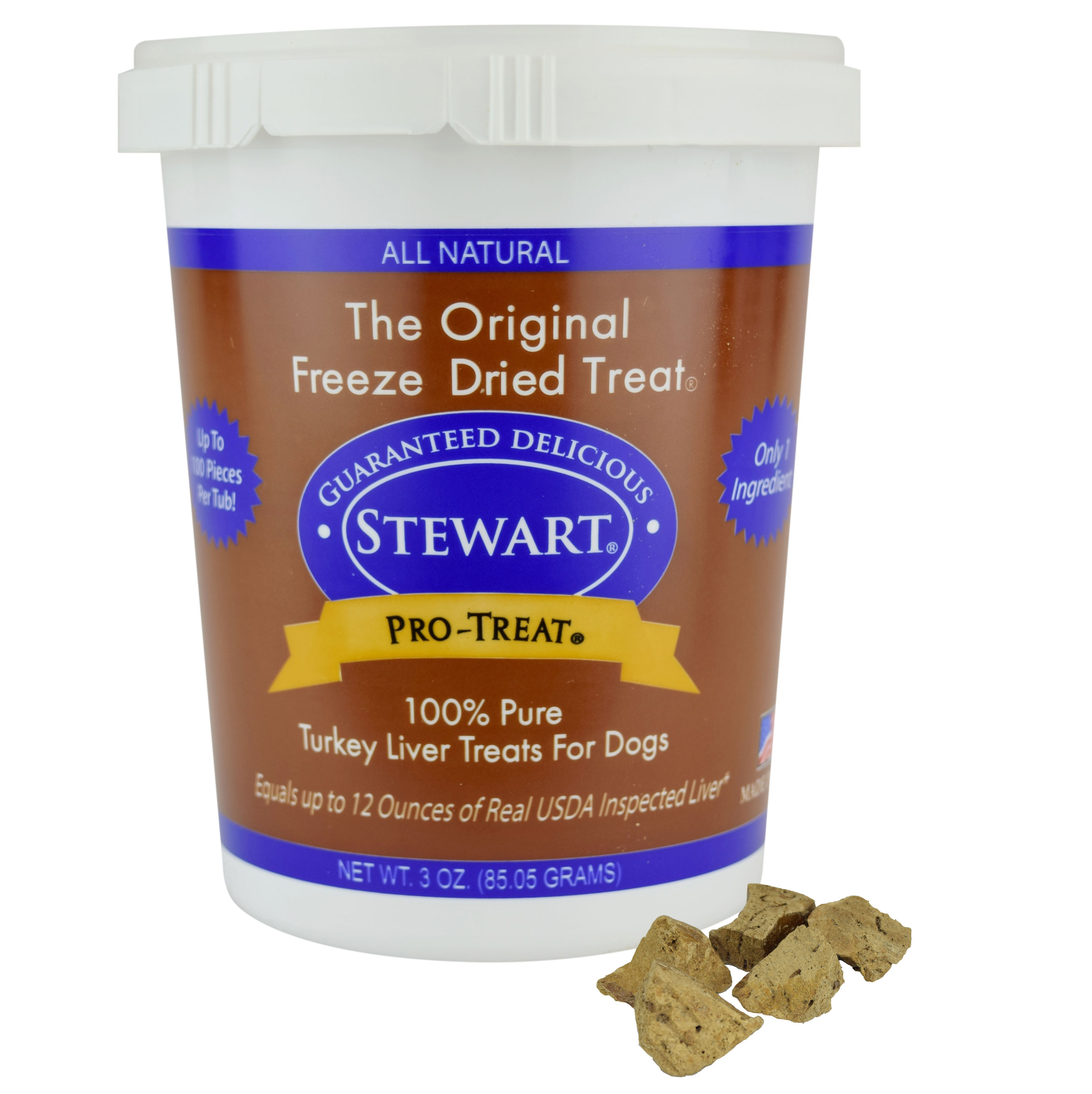 Stewart Freeze Dried Turkey Liver Dog Treats by Pro-Treat, 3 oz. Tub