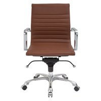 Ribbed Mid-back Terracota Brown Vegan Leather Swivel Office Chair