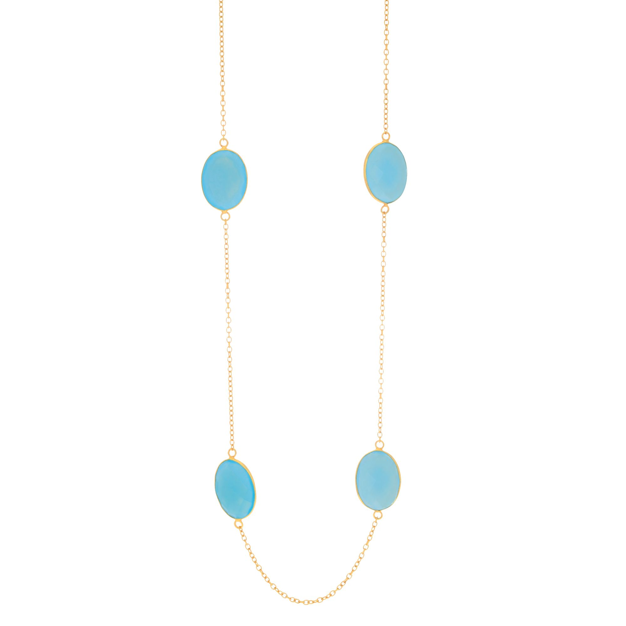 "Sterling Silver Yellow Finish Aqua Chalcedony Long Necklace, 38"" by"