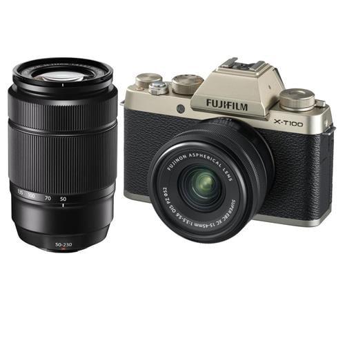 Fujifilm X-T100 Mirrorless Digital Camera, Champagne Gold with XC15-45mmF3.5-5.6 OIS PZ Lens - With Fujifilm XC 50-230mm (76-350mm) F4.5-6.7 OIS II Le