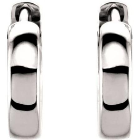 Platinum Polished Earring - Platinum 14mm Polished Hinged Earrings - 4.2 Grams