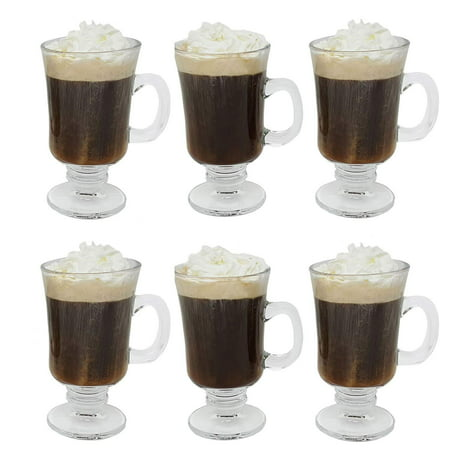 Footed Pressed Glass (Irish Coffee Glass Coffee Mugs Footed Regal Shape 8 oz. Set of 6 Thick Wall Glass Cappuccinos, Mulled Ciders, Hot Chocolates, Ice cream and)