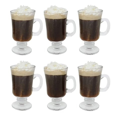Irish Coffee Glass Coffee Mugs Footed Regal Shape 8 oz. Set of 6 Thick Wall Glass Cappuccinos, Mulled Ciders, Hot Chocolates, Ice cream and
