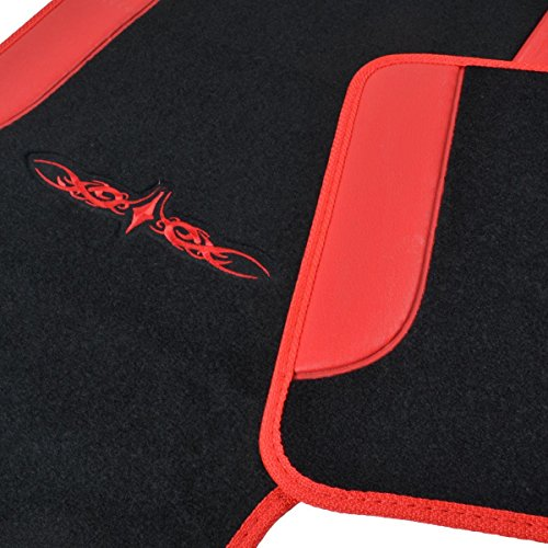 A Set of 4 Universal Fit Plush Carpet with Vinyl Trim Floor Mats For Cars / Trucks (Red)