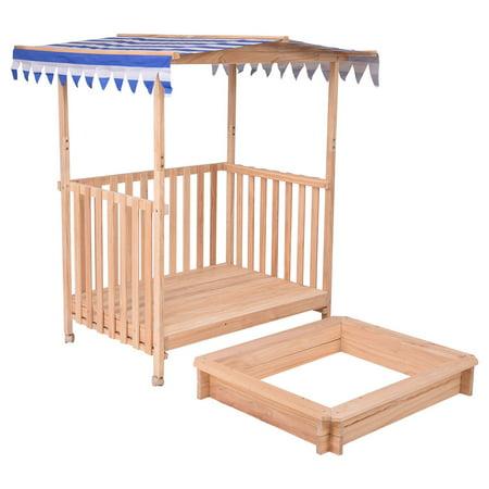 GHP Fir Wood Ultraviolet-Proof Polyester Kids Outdoor Beach Cabana Sandbox w Canopy