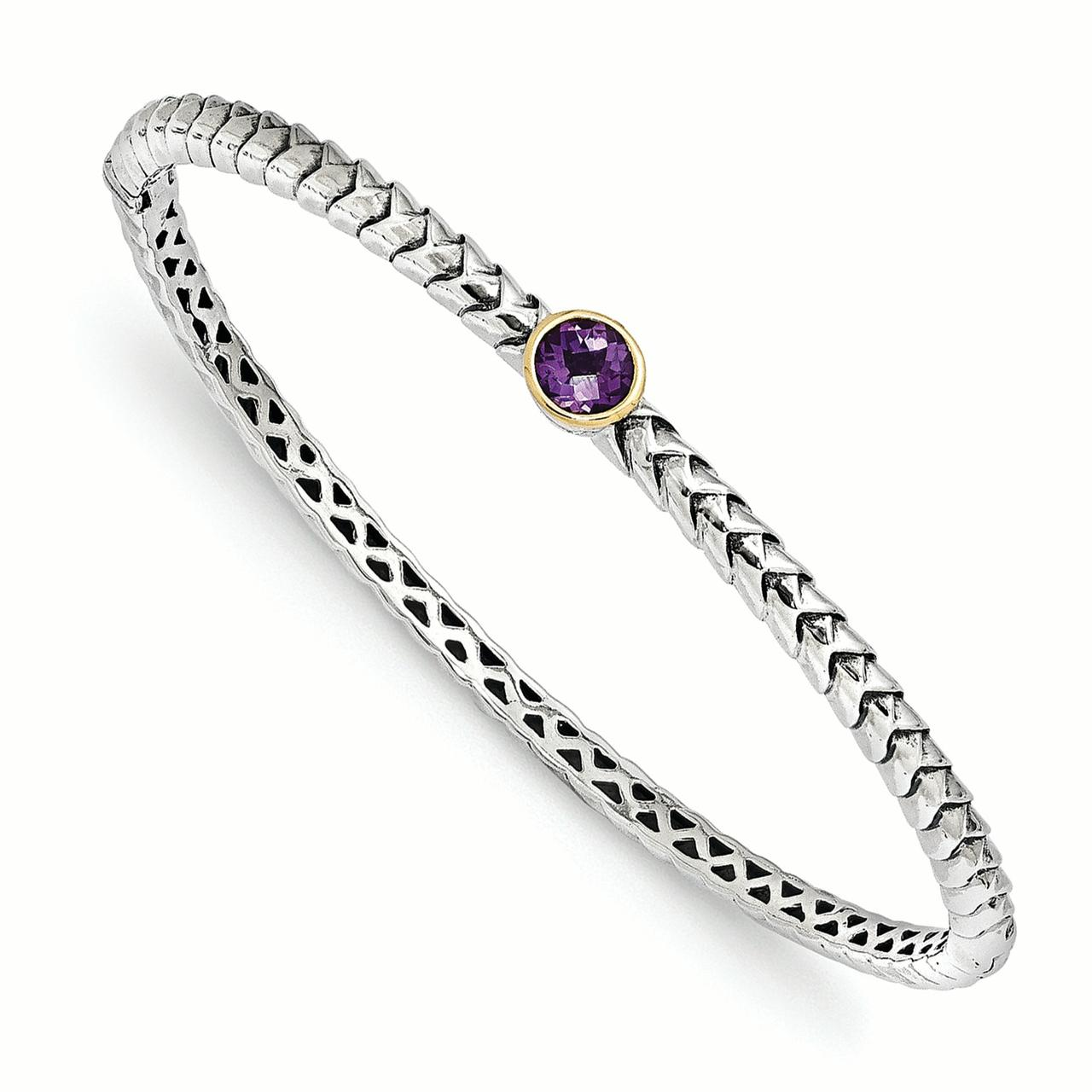 Sterling Silver w 14k Amethyst Bangle Bracelet QTC946 by Shey Couture