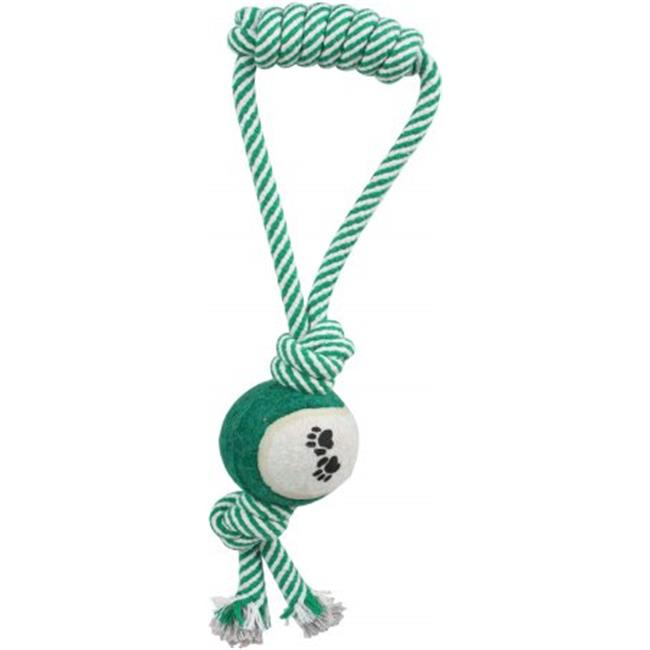 Pull Away Rope And Tennis Ball - Green, One Size