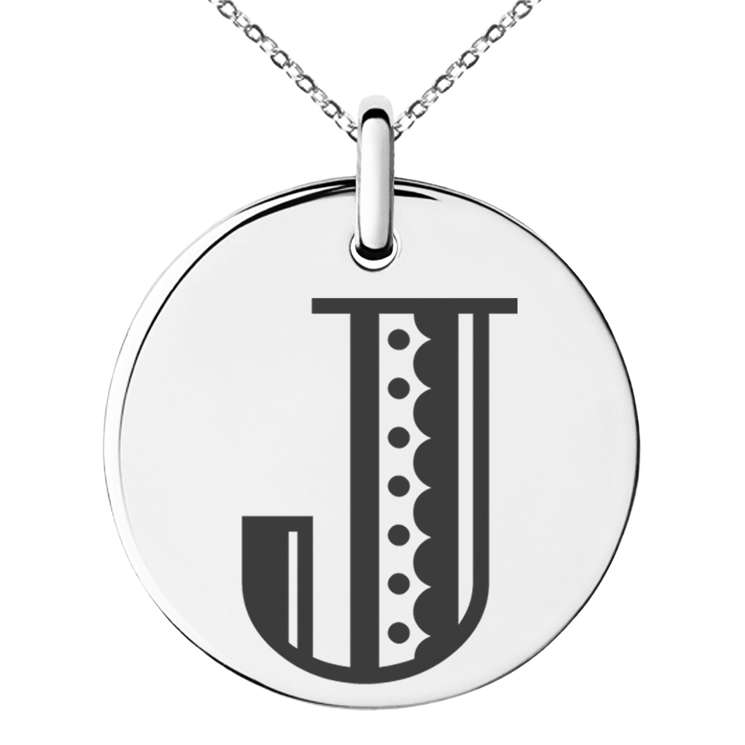 Tioneer Stainless Steel Letter S Initial Metro Retro Monogram Floating Heart Tag Charm Pendant Necklace