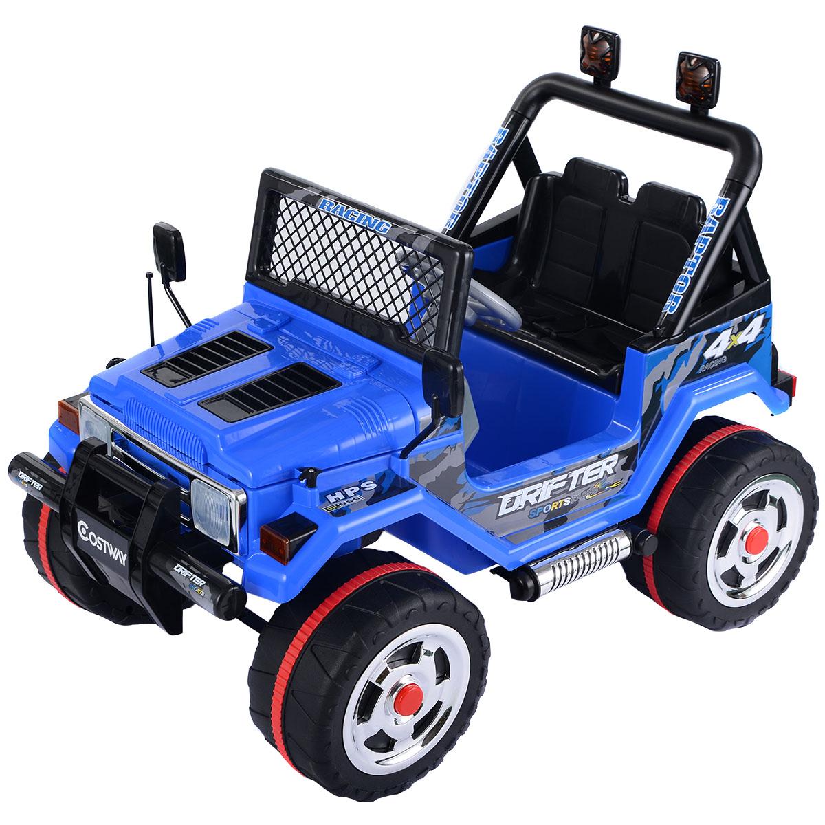 Costway 12V MP3 Kids Raptor Jeep Truck RC Ride On Car w  Double Motors & Batteries Blue by Costway