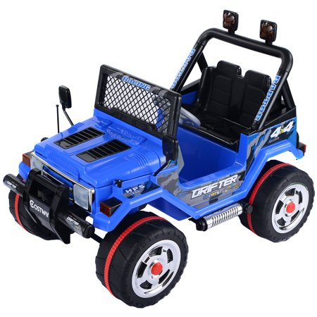 Costway 12V Mp3 Kids Raptor Jeep Truck Rc Ride On Car W  Double Motors   Batteries Blue