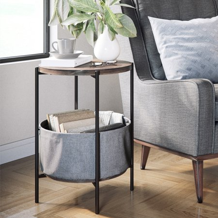 - Ora Wood Side Table with Storage, 24 Inch Nutmeg Top, Graphite Basket, Matte Black Metal Finish