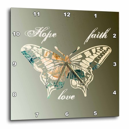 3dRose Hope, Faith and Love Gold Butterfly inspirational art, Wall Clock, 13 by 13-inch