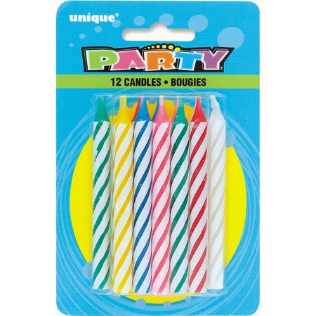 Striped Birthday Candles, 12ct