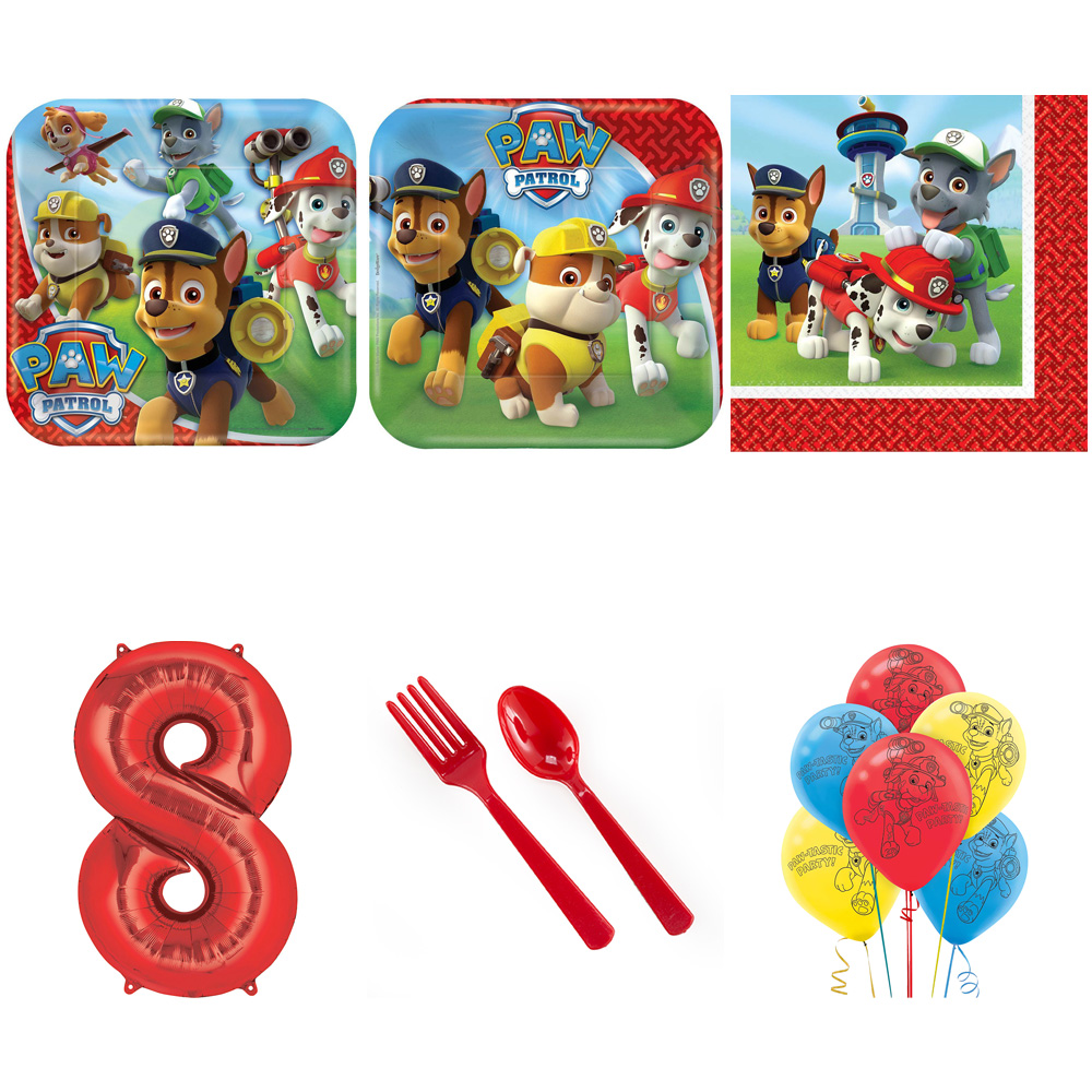 PAW PATROL PARTY SUPPLIES PARTY PACK WITH RED #8 BALLOON
