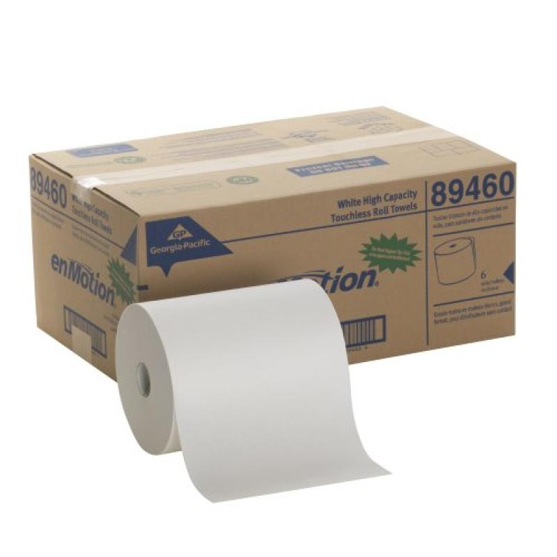 """Georgia-Pacific enMotion 894-60 800' Length x 10"""" Width, White High Capacity Touchless Roll Towel (Roll of 6)"""
