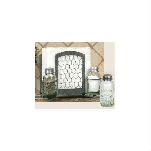 Click here to buy Chicken Wire Salt Pepper and Napkin Caddy by Colonial Tin.