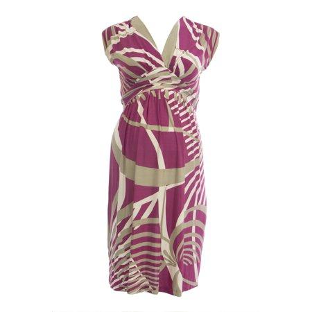 Print Surplice Dress - OLIAN Maternity Women's Magenta Abstract Print Surplice Neck Dress