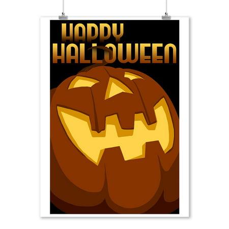 Happy Halloween - Halloween Jack o'Lantern - Vector - Lantern Press Artwork (9x12 Art Print, Wall Decor Travel (Halloween Jack O'lanterns Print)