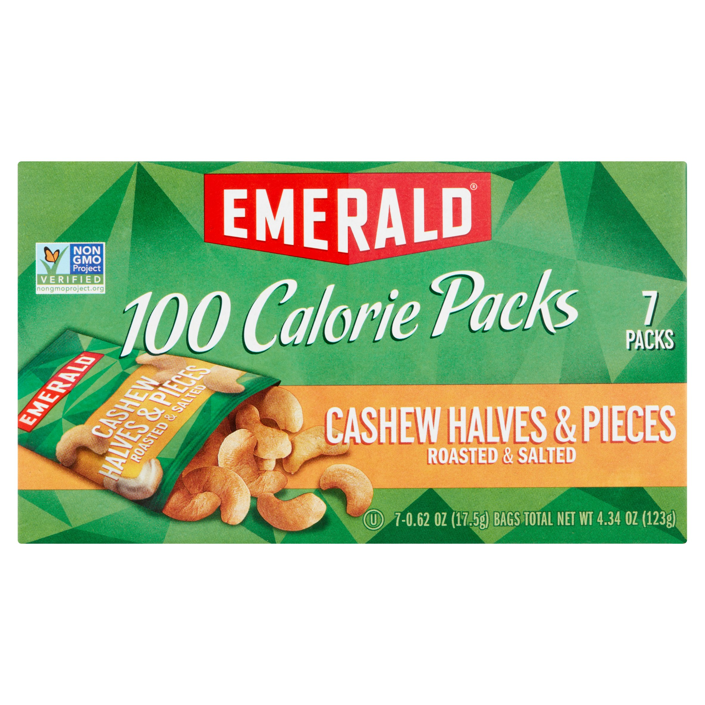 Emerald 100 Calorie Packs Cashew Halves & Pieces, 0.62 oz, 7 count