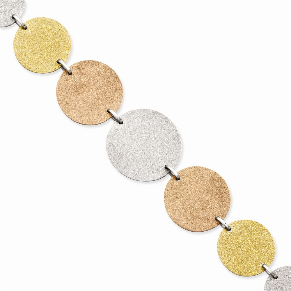 Stainless Steel Tri-Color IP-plated Discs 8in w/ext Bracelet Length 8
