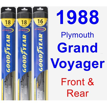 Plymouth Grand Voyager Wiper - 1988 Plymouth Grand Voyager Wiper Blade Set/Kit (Front & Rear) (3 Blades) - Hybrid